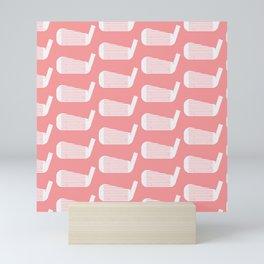 Golf Club Head Vintage Pattern (Pink/White) Mini Art Print