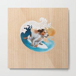 Surfing dog wave sea sun Metal Print