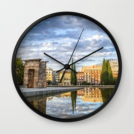 Egyptian temple in Madrid Wall Clock