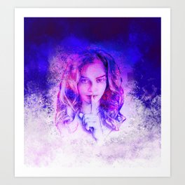 Pink and blue portrait Art Print