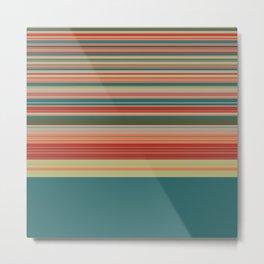 Mid Mod Spinning Wheel Stripes Pattern in Sage, Orange, Red, Teal Metal Print
