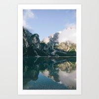 Sunrise at Lago di Braies Art Print