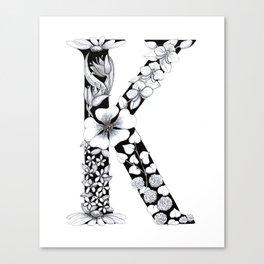 Floral Pen and Ink Letter K Canvas Print