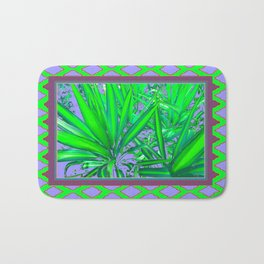 Lilac-Puce-Green Tropical Green Patterned Cacti Art Bath Mat