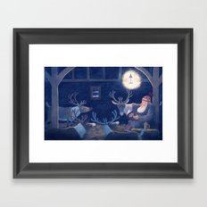 Goodnight reindeer Framed Art Print