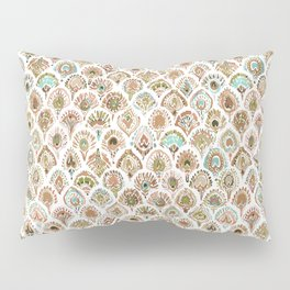 PEACOCK MERMAID Rose Gold Mint Scales and Feathers Pillow Sham