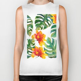 Monstera And Hibiscus Biker Tank
