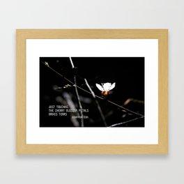 Sakura flowers on black 03 Framed Art Print