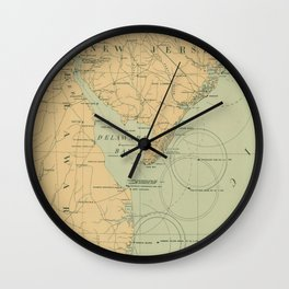 Vintage NJ, MD & Delaware Bay Lighthouse Map (1897) Wall Clock