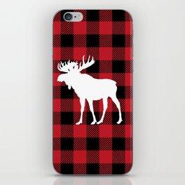 Red Buffalo Plaid Moose iPhone Skin