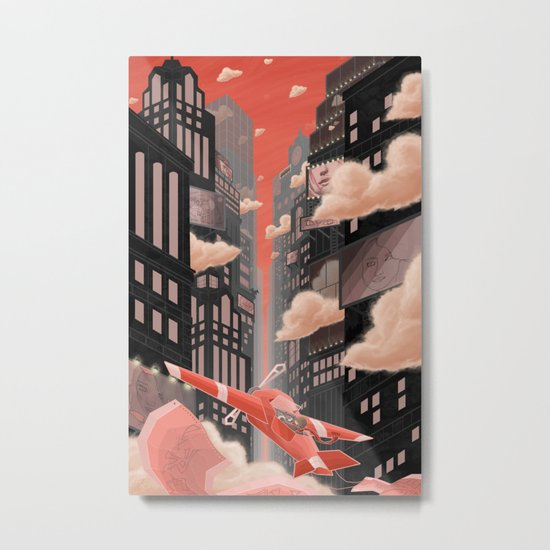 Red Night Flight Metal Print