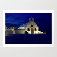 Santorini Chapel During Sunrise  Art Print