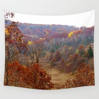 wisconsin Wall Tapestries featuring Fall Forest in Wisconsin by Bella Mahri-PhotoArt By Tina