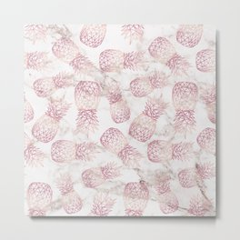 Geometric rose gold pineapples marble pattern Metal Print