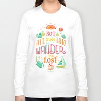 baloon Long Sleeve T-shirts featuring Not All Those Who Wander ii by becca cahan