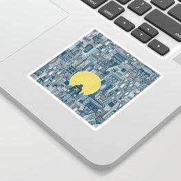 space city sun blue Sticker