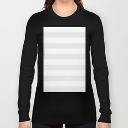 Horizontal Stripes - White and Pale Gray Long Sleeve T-shirt