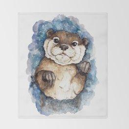 Watercolor Otter Throw Blanket