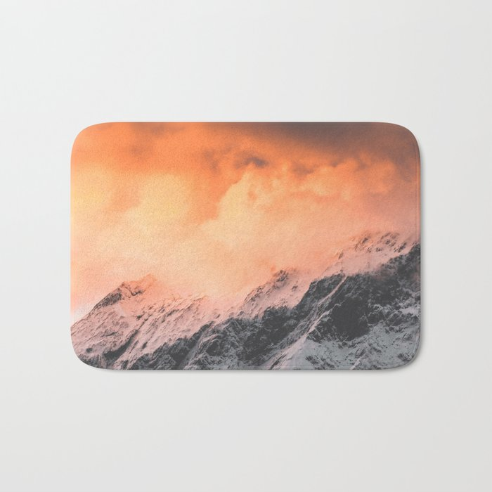 Sunset over Mount Aspiring Bath Mat