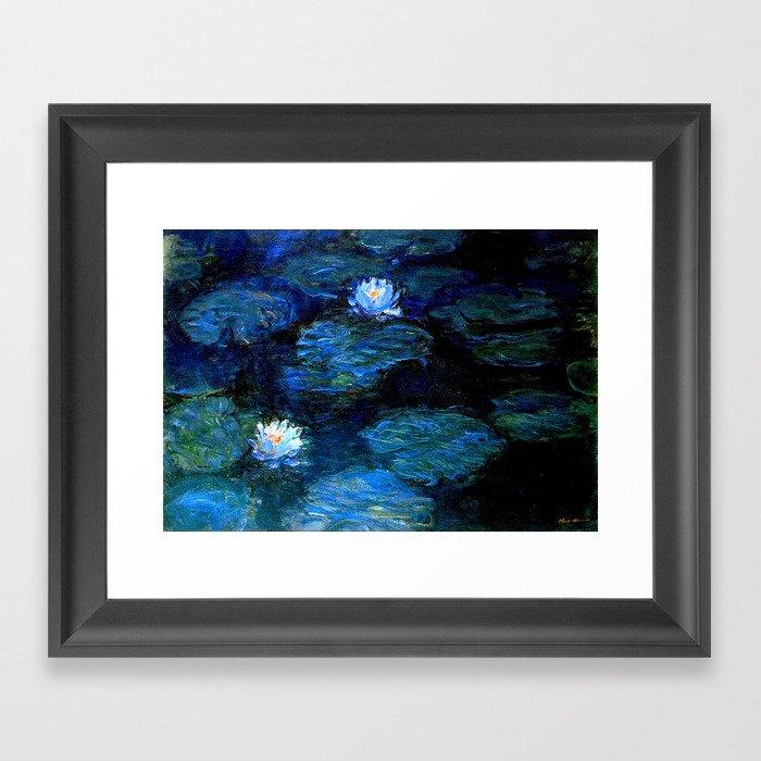 monet water lilies 1899 blue Teal Gerahmter Kunstdruck