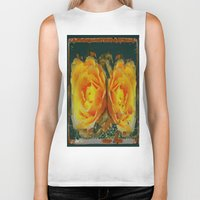 shabby chic Biker Tanks featuring Antique Style Shabby Chic Yellow Roses Green Art by SharlesArt