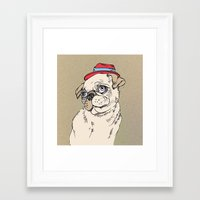 pug Framed Art Prints featuring Pug by Madmi