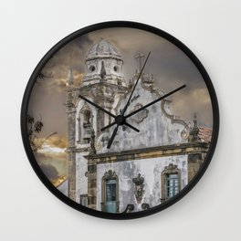 Exterior Facade Antique Colonial Church Olinda Brazil Wall Clock