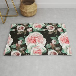 Dark floral bloom Rug