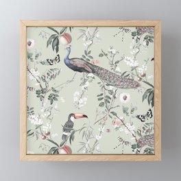 Oriental Peacock Toucan Floral Pattern Framed Mini Art Print