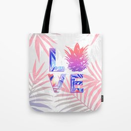 Love Pineapple Typography Tropical Boho Summer Vibes Tote Bag