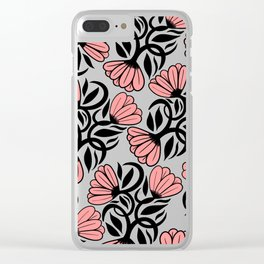 Modern Girly Mauve Pink Black Floral Illustrations Clear iPhone Case
