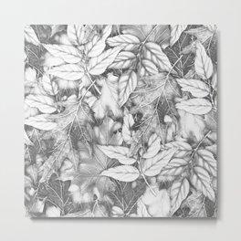 Autumn black white maple leaves bohemian floral pattern Metal Print