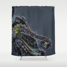 """""""Release the Kraken"""" - Giant Octopus Digital Illustration Shower Curtain"""
