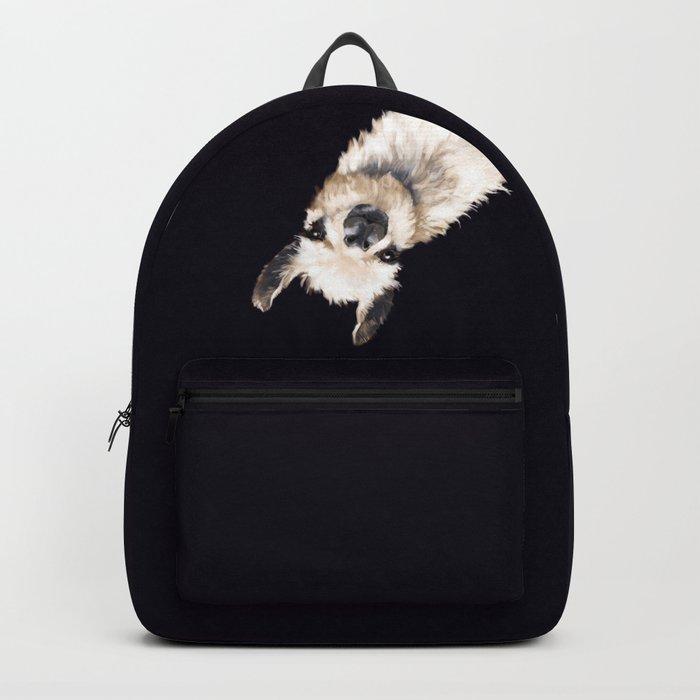Sneaky Llama in Black Backpack