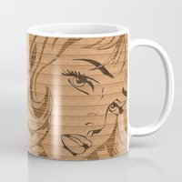 lichtenstein Mugs featuring RoyL GIRL in wood, (Roy Lichtenstein.) by elekat
