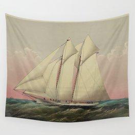 Vintage Schooner Yacht Illustration (1870) Wall Tapestry