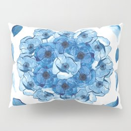 The Poppy blue petal Pillow Sham