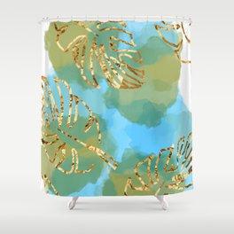leaf & water scene Shower Curtain