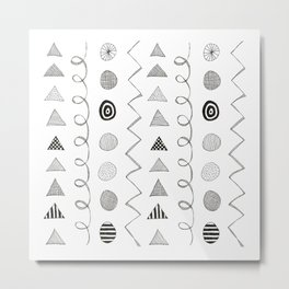 doodle triangles, circles and squiggles Metal Print
