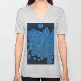3D Futuristic Cubes IV Unisex V-Neck