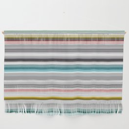 grey and colored stripes Wall Hanging