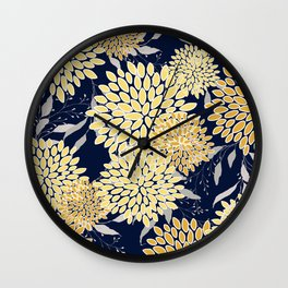 Floral Leaves and Blooms, Yellow and Navy Blue Wall Clock