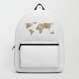 World Map - Beige Watercolor Minimal on White Backpack