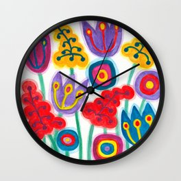 raw flower garden with tulips Wall Clock