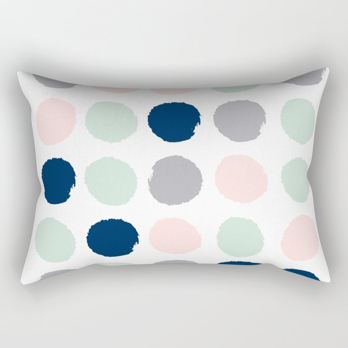 Trendy color palette minimal painted dots polka dot minimalist pink mint grey navy Rectangular Pillow