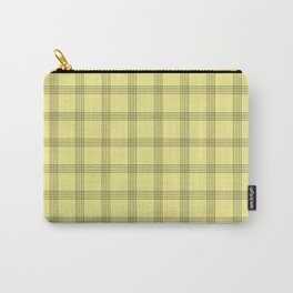 Black Grid on Pale Yellow Carry-All Pouch