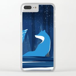 Wintery Blue Forest FOX Design Clear iPhone Case