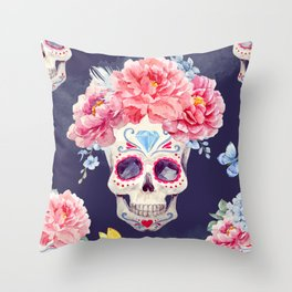 Mexican Skull Calavera Flower Floral Crown Watercolor Painting Throw Pillow