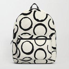 Polka Dots Circles Tribal Black and White Backpack