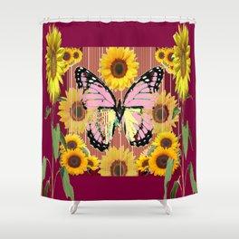 BURGUNDY SUNFLOWERS & PINK BUTTERFLY ART Shower Curtain